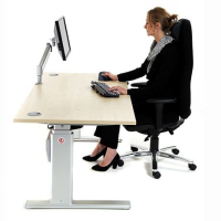 ActiveDesking Sit/Stand Workstation Maple & Silver