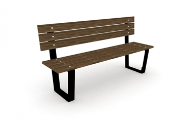 Wooden Bench With Back