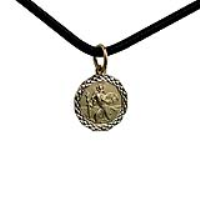 1/20th 14ct yellow gold on Silver 13x13mm dodecagonal diamond cut edge St Christopher Pendant with a 2mm wide Leather Pendant Cord