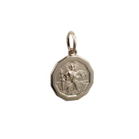 1/20th 14ct yellow gold on Silver 13x13mm dodecagonal St Christopher Pendant