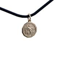 1/20th 14ct yellow gold on Silver 13x13mm dodecagonal St Christopher Pendant with a 2mm wide Leather Pendant Cord 18 inches