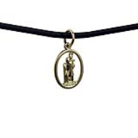 1/20th 14ct yellow gold on Silver 14x11mm oval pierced St Christopher Pendant with a 2mm wide Leather Pendant Cord 18 inches