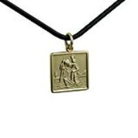 1/20th 14ct yellow gold on Silver 17mm square St Christopher Pendant with a 2mm wide Leather Pendant Cord 22 inches