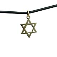 1/20th 14ct yellow gold on Silver 17x17mm plain Star of David Pendant with a 2mm wide Leather Pendant Cord 20 inches
