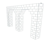 Arch - Double Each 5 Ft W Openings - 15 Ft x 1 Ft 6 In x 7 Ft 7 In