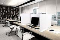 Desk divider 800mm wide x 600mm high white base, printed double sided