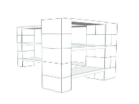 Shelving - 3 Level Corner Unit w/Thin Columns - 6 Ft 6 In x 3 Ft 6 In x 3 Ft 1 In