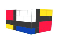 """Table Solid """"Mondrian"""" Style Coffee Table -"""