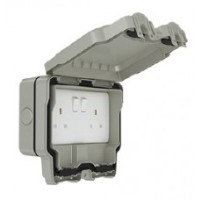13A 2 Gang Weatherproof Switched Socket, Double Pole,with RCD, IP66, SWP4100