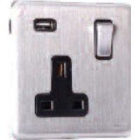 13A Switched Sockets, 1 Gang, with USB outlet, wall fitting SLM2310