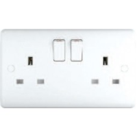13A Switched Sockets, 2 Gang, SP, wall fitting ST2021