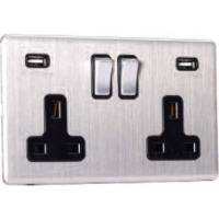 13A Switched Sockets, 2 Gang, with 3.1A USB outlets, wall fitting SLM2320