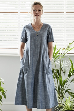 Midi Short Sleeve Chambray Dress