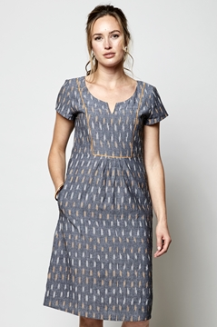 Ikat Dress with Piping