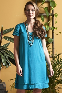 Plain Double Layer Tunic Dress
