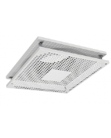 TSO-125 square perforated ceiling diffuser, steel, white RAL9010 Gloss 30% with THOR plenum box as an accessory