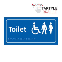 'Toilet (Disabled/Gents/Ladies)' Sign, Self-Adhesive Taktyle, Blue, (300mm x 150mm)