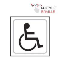 'Disabled Graphic' Sign, Self-Adhesive Taktyle, White, (150mm x 150mm)