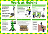 'Work At Height' Sign, Laminated Paper, Safety Poster (590mm x 420mm)