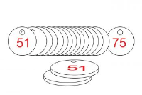 White/Red Traffolite Tags (51 to 75), 38mm