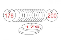White/Red Traffolite Tags (176 to 200), 38mm