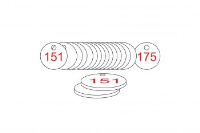 White/Red Traffolite Tags (151 to 175), 27mm