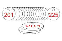 White/Red Traffolite Tags (201 to 225), 38mm