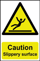 """Caution Slippery Surface"" Sign, Self-Adhesive Semi-Rigid PVC (200mm x 300mm)"