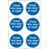 """Close This Door At Night"" Sign, Self-Adhesive Semi-Rigid PVC (200mm x 300mm)"