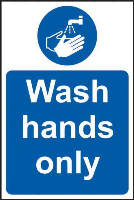 'Wash Hands Only' Sign, Self-Adhesive Vinyl (200mm x 300mm)