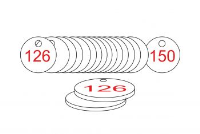 White/Red Traffolite Tags (126 to 150), 33mm