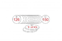 White/Red Traffolite Tags (126 to 150), 27mm