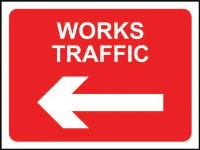 'Works Traffic (Arrow Left)' Temporary Road Sign, Zintec without channel (600mm x 450mm)
