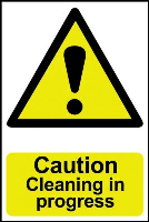 """Caution Cleaning In Progress"" Sign, Self-Adhesive Semi-Rigid PVC (200mm x 300mm)"