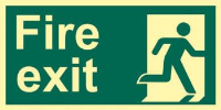 'Fire Exit (Man Right)' Sign, Flexible Photoluminescent Board (300mm x 150mm)