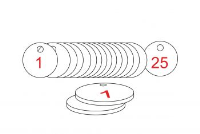 White/Red Traffolite Tags (1 to 25), 33mm