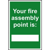'Your Fire Assembly Point Is.' Sign, Self-Adhesive Vinyl (200mm x 300mm)