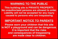 'Building Site Warning To Public And Parents' Sign, Self-Adhesive Semi-Rigid PVC, (600mm x 400mm)