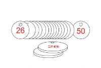 White/Red Traffolite Tags (26 to 50), 33mm