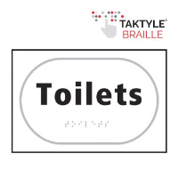 'Toilets' Sign, Self-Adhesive Taktyle, White, (225mm x 150mm)