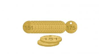 Brass Natural Unfilled Tags (151 to 175), 38mm