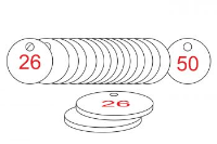 White/Red Traffolite Tags (26 to 50), 38mm