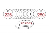 White/Red Traffolite Tags (226 to 250), 33mm