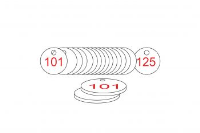 White/Red Traffolite Tags (101 to 125), 27mm