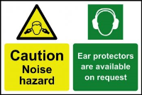 """Caution Noise Hazard Ear Protectors Are Available On Request"" Sign, Self-Adhesive Semi-Rigid PVC (300mm x 200mm)"