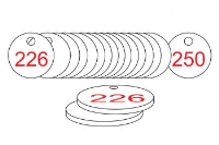 White/Red Traffolite Tags (226 to 250), 38mm
