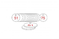 White/Red Traffolite Tags (51 to 75), 27mm