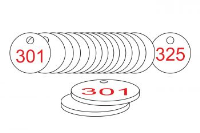 White/Red Traffolite Tags (301 to 325), 38mm