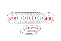 White/Red Traffolite Tags (376 to 400), 33mm