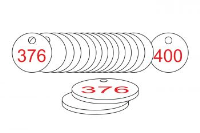 White/Red Traffolite Tags (376 to 400), 38mm